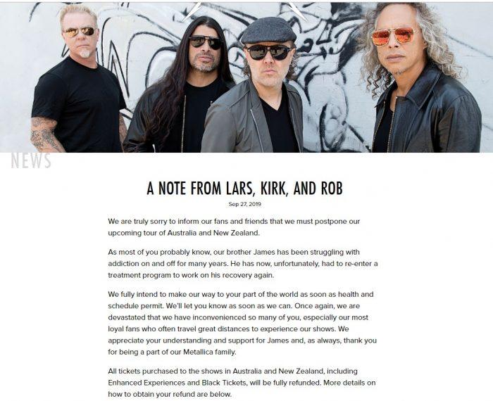 Lars, Kirk a Rob informujú o zrušení austrálskeho turné, kvôli Jamesovmu nástupu na odvykačku.
